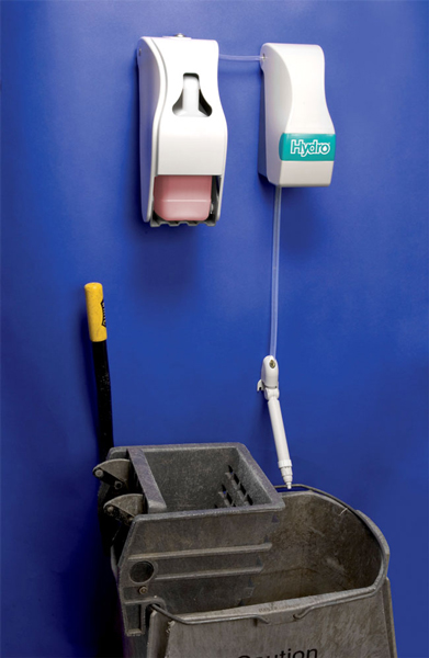 MultiDose installed above cleaning cart