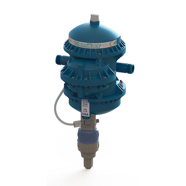 Chemilizer diaphragm dosing pump dimetric view