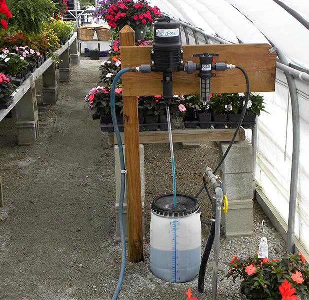 SuperDos dosing pump in a greenhouse installation